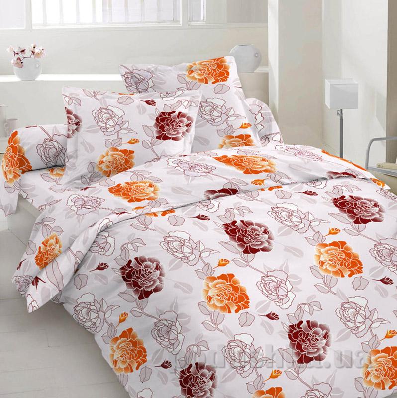 Комплект постельного белья TM Nostra Сатин серо-оранжево-бордовый цветы