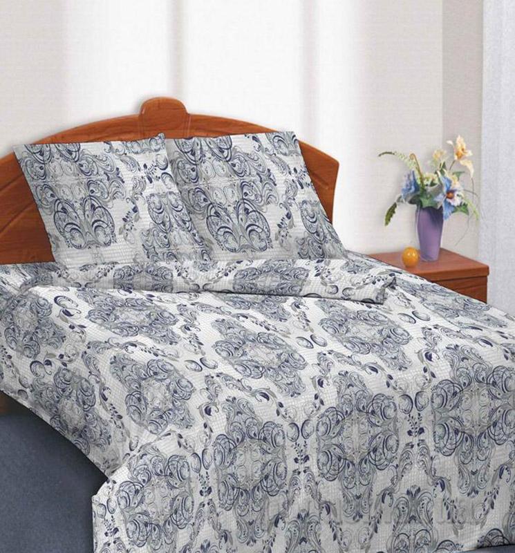 Комплект постельного белья TM Nostra Сатин серо-синий узоры