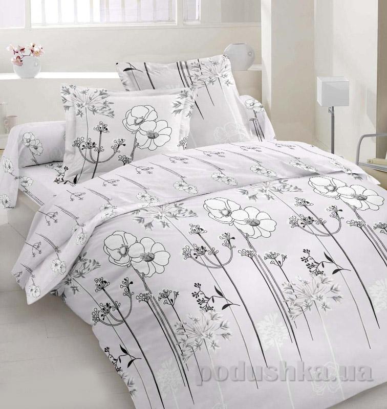 Комплект постельного белья TM Nostra Сатин серый цветы