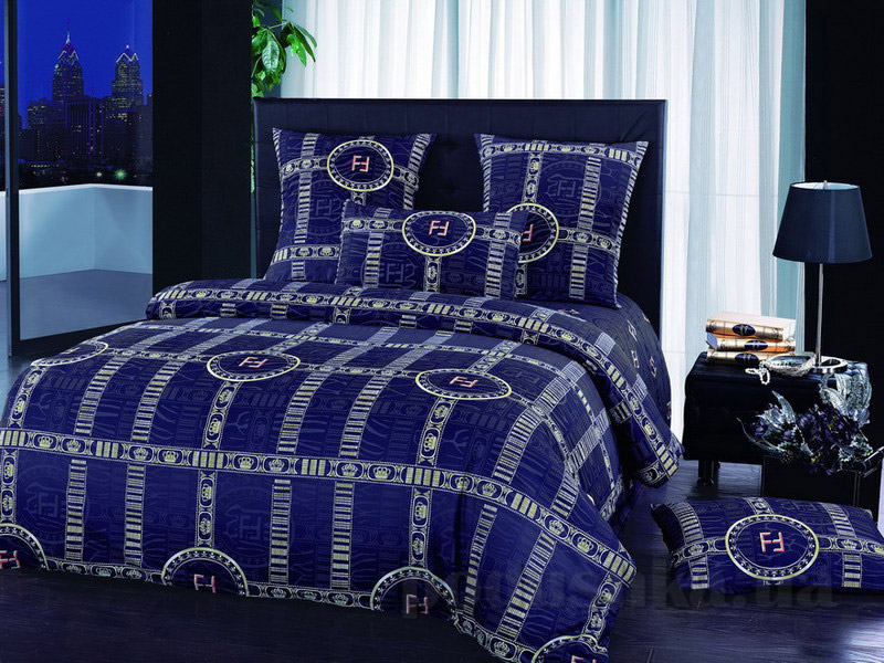 Комплект постельного белья TM Nostra Сатин синий графика