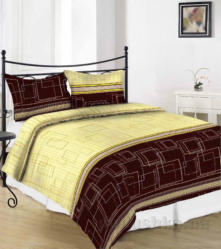 Комплект постельного белья TM Nostra Сатин желто-коричневый геометрия