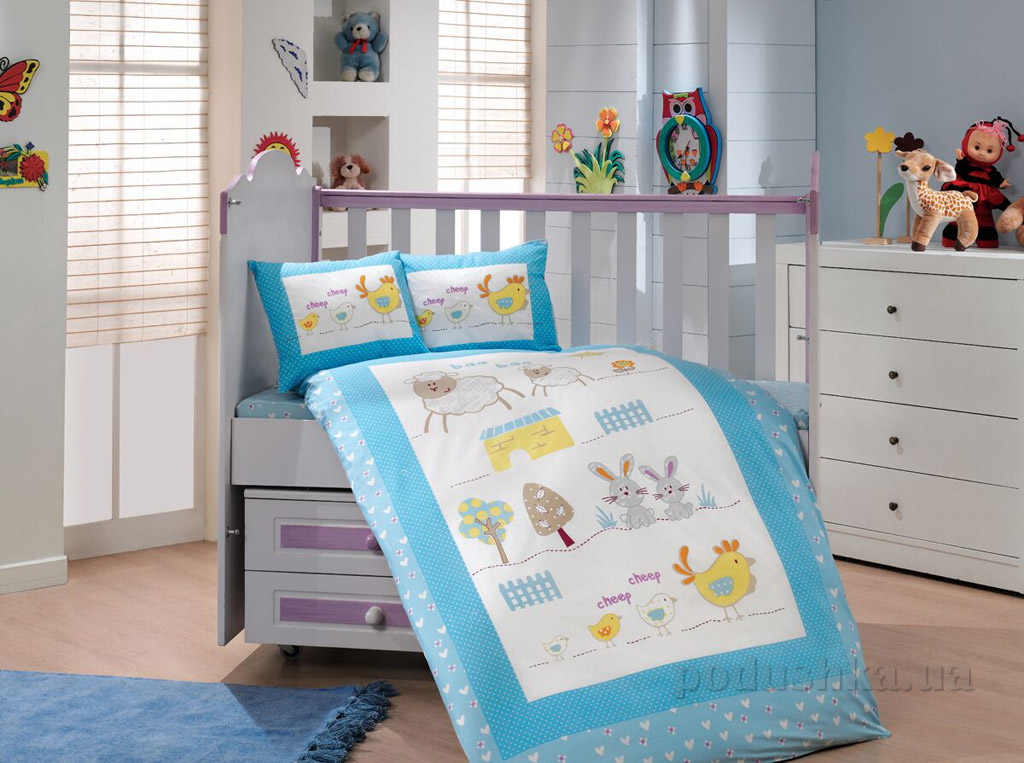 Постельное белье в кроватку Hobby Zoo голубой сатин