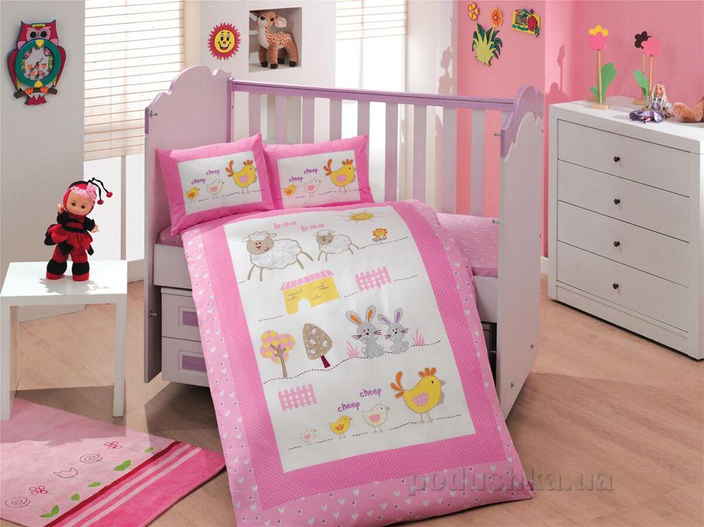 Постельное белье в кроватку Hobby Zoo розовый сатин