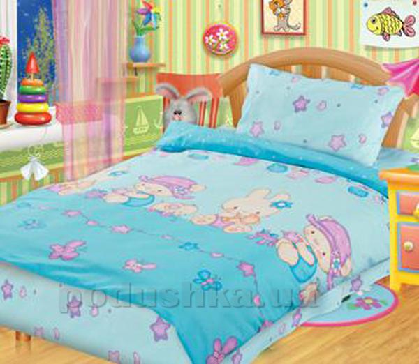 Постельное белье в кроватку Игрушки голубой
