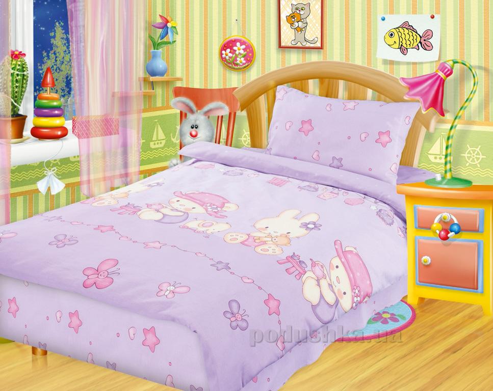 Постельное белье в кроватку Игрушки сиреневый