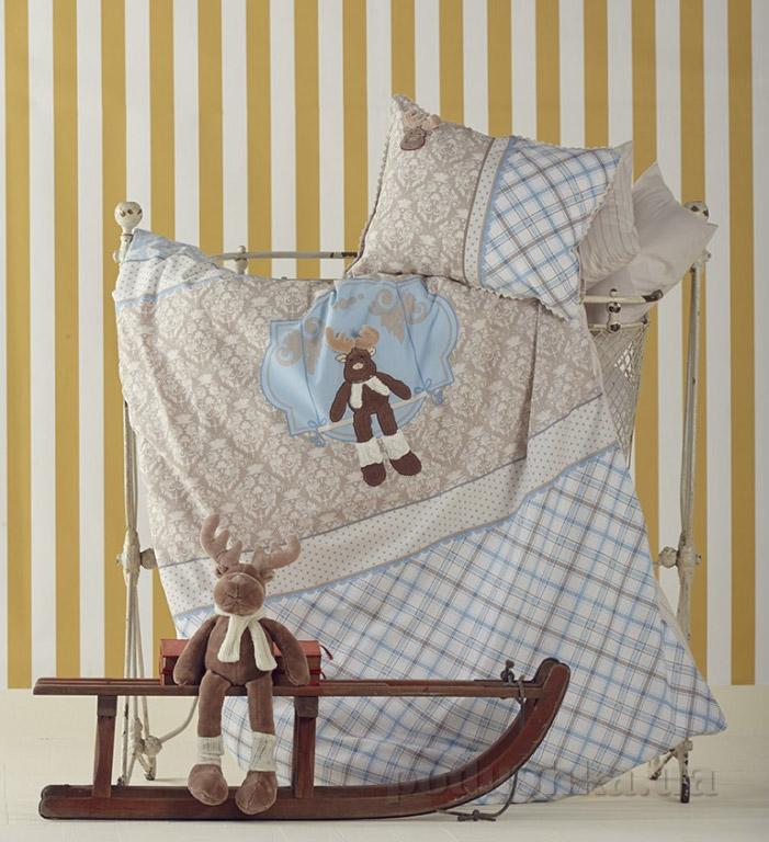 Постельное белье в кроватку Karaca Deer голубой