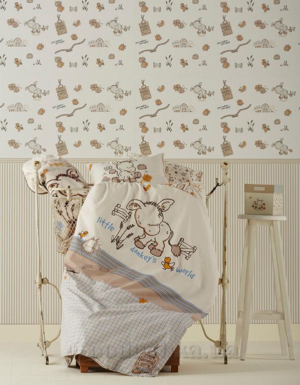 Постельное белье в кроватку Karaca Donkey's world кремовый
