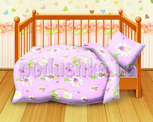 Постельное белье в кроватку Малыши розовый