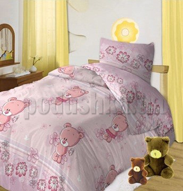 Постельное белье в кроватку Мишутки розовый