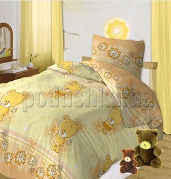 Постельное белье в кроватку Мишутки желтый