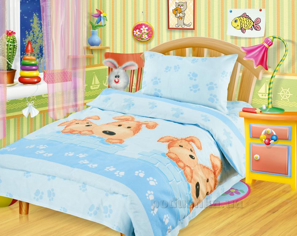 Постельное белье в кроватку Собачки голубые