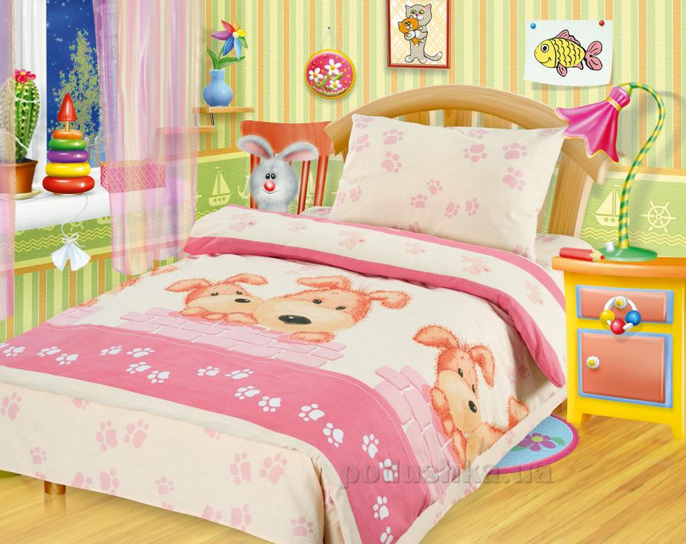 Постельное белье в кроватку Собачки розовые