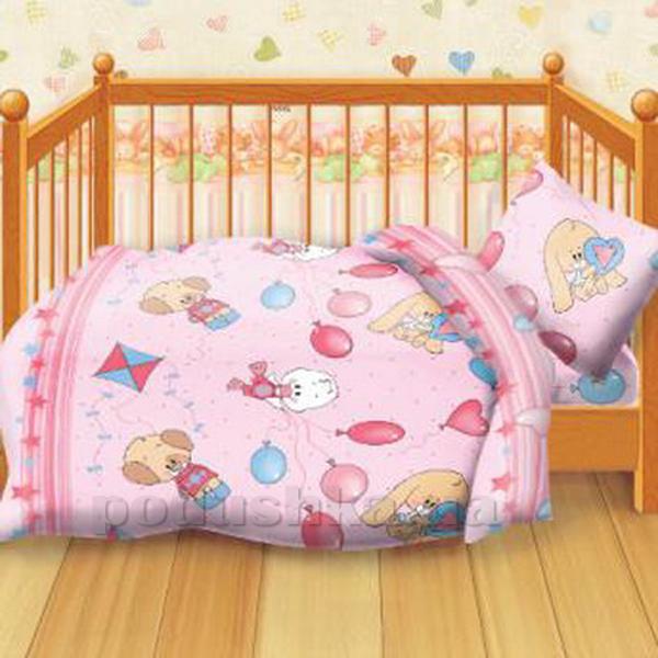 Постельное белье в кроватку Веселые друзья розовый