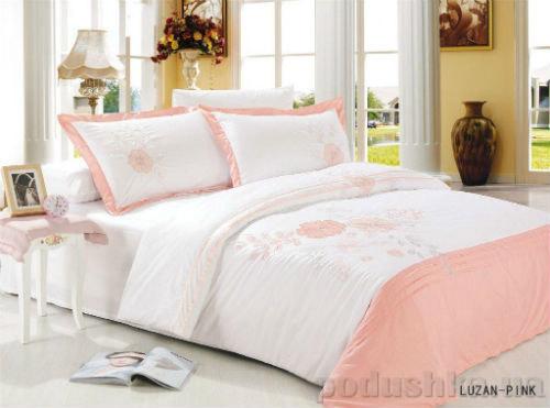 Постельное белье вышивка Le Vele LUZAN pink Двуспальный евро комплект  Le Vele