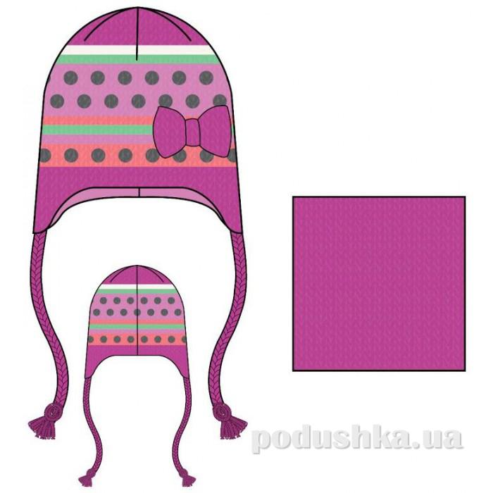 Комплект: шапка и манишка для девочки Nano F14 TC 256 Gerbera