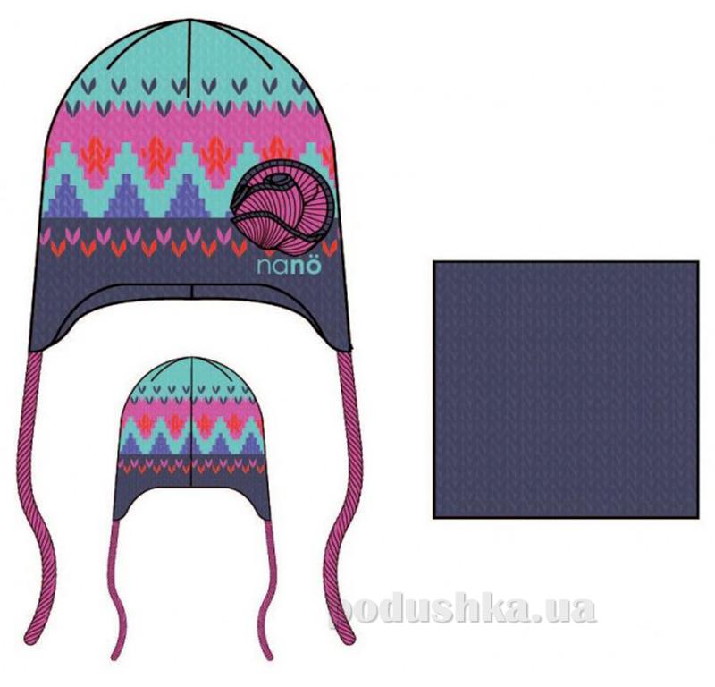 Комплект: шапка и манишка для девочки Nano F14 TC 276 Phlox pink