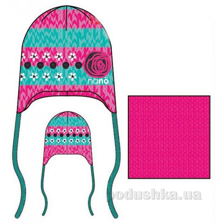 Комплект: шапка и манишка для девочки Nano FF14 TC 290 Gerbera