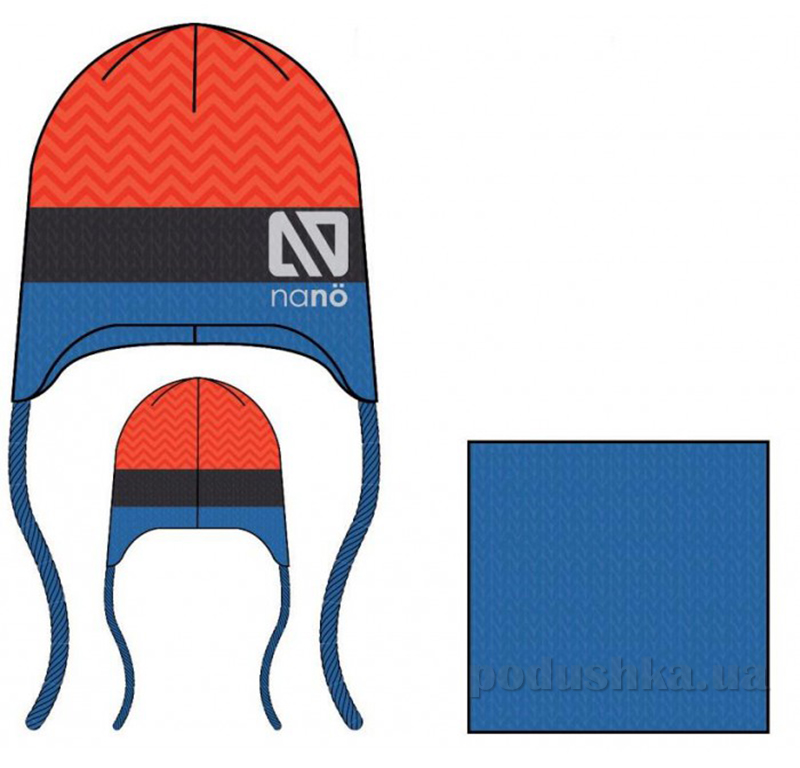 Комплект: шапка и манишка для мальчика Nano F14 TC 255 Bleu