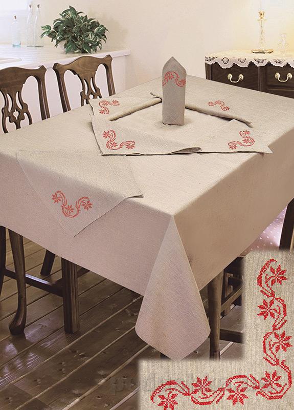 Комплект столовый лен с вышивкой Ярослав cc44
