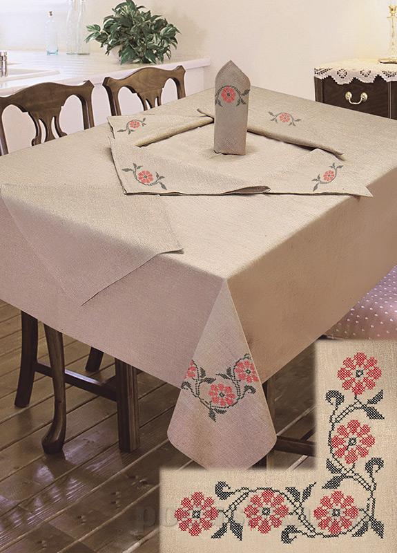 Комплект столовый лен с вышивкой Ярослав cc48