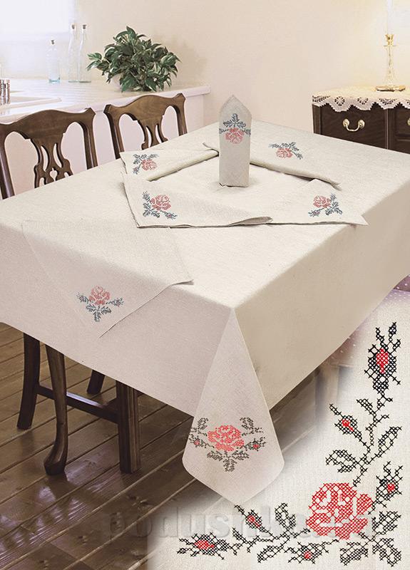 Комплект столовый лен с вышивкой Ярослав cc5