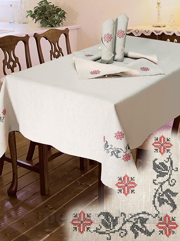 Комплект столовый лен с вышивкой Ярослав cc67