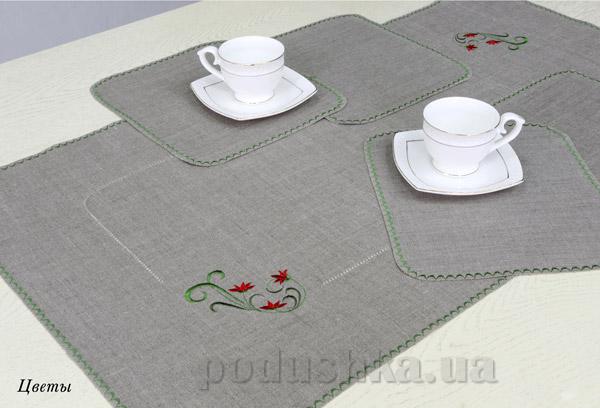 Комплект столовый Цветы 13с167-ШР Белорусский лен