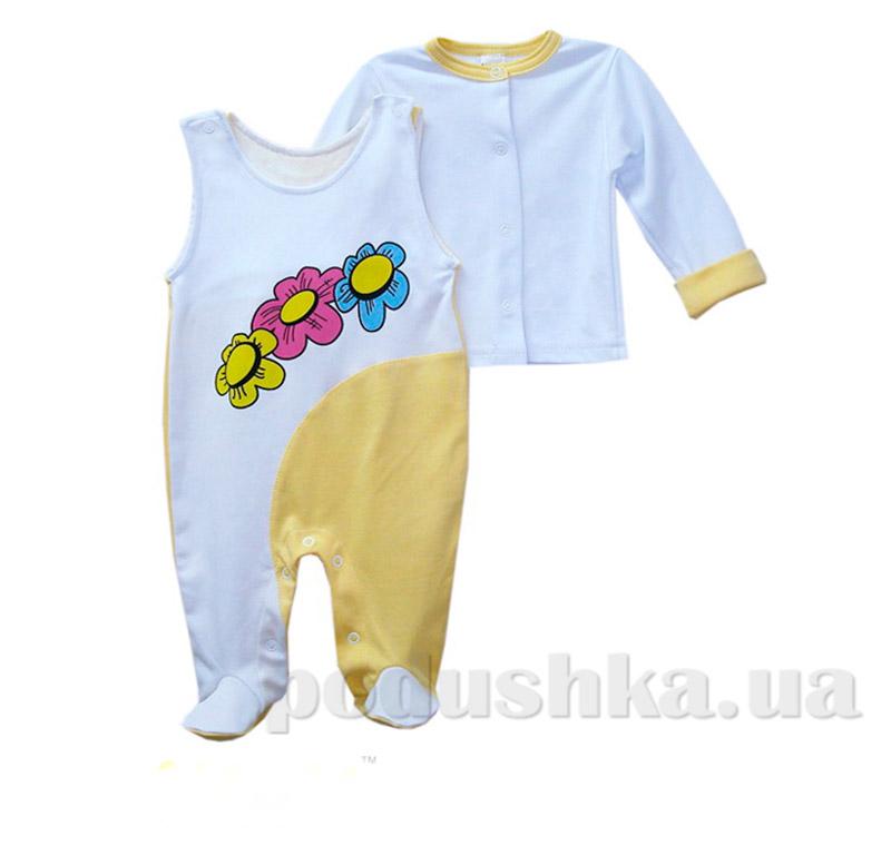 Комплект ясельный для девочки Паравозик Клим КП-209а интерлок
