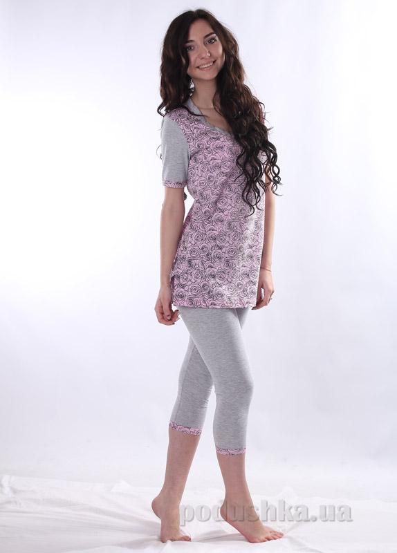 Комплект женский VVL-TEX 162-1 серый с розовыми цветами