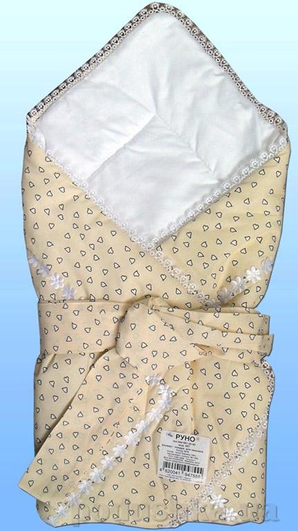 Конверт-одеяло Руно 957 бежевый с бантом