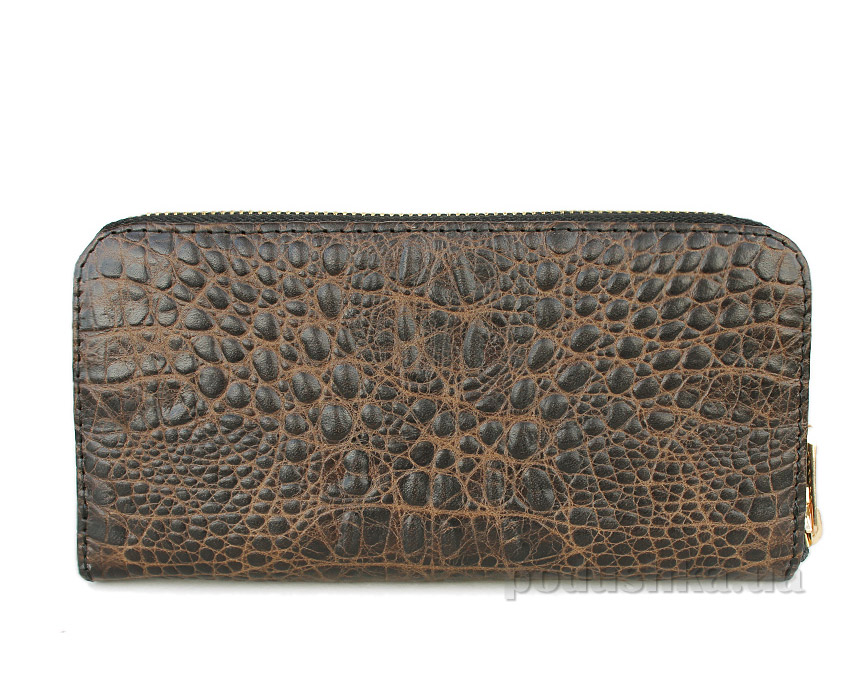 Кошелек кожаный Poolparty Crocodile wallet brown