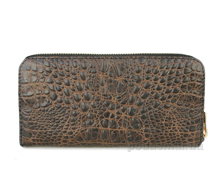Кошелек кожаный Poolparty Crocodile wallet brown
