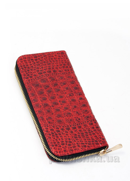 Кошелек кожаный Poolparty Crocodile wallet red
