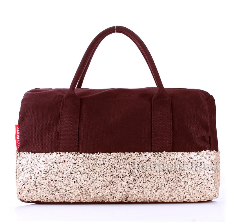 Коттоновая сумка Poolparty Rock'n'Roll poolparty-rocknroll-brown-gold