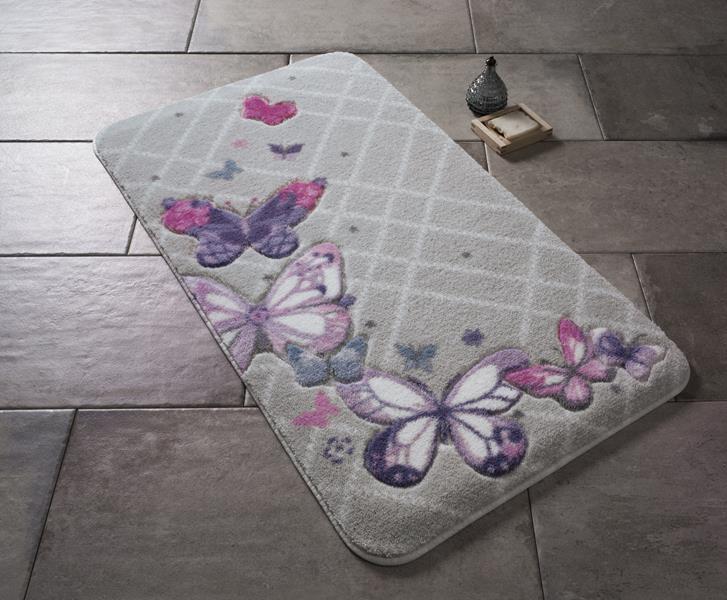 Коврик для ванной Confetti Butterfly Plaid Purple