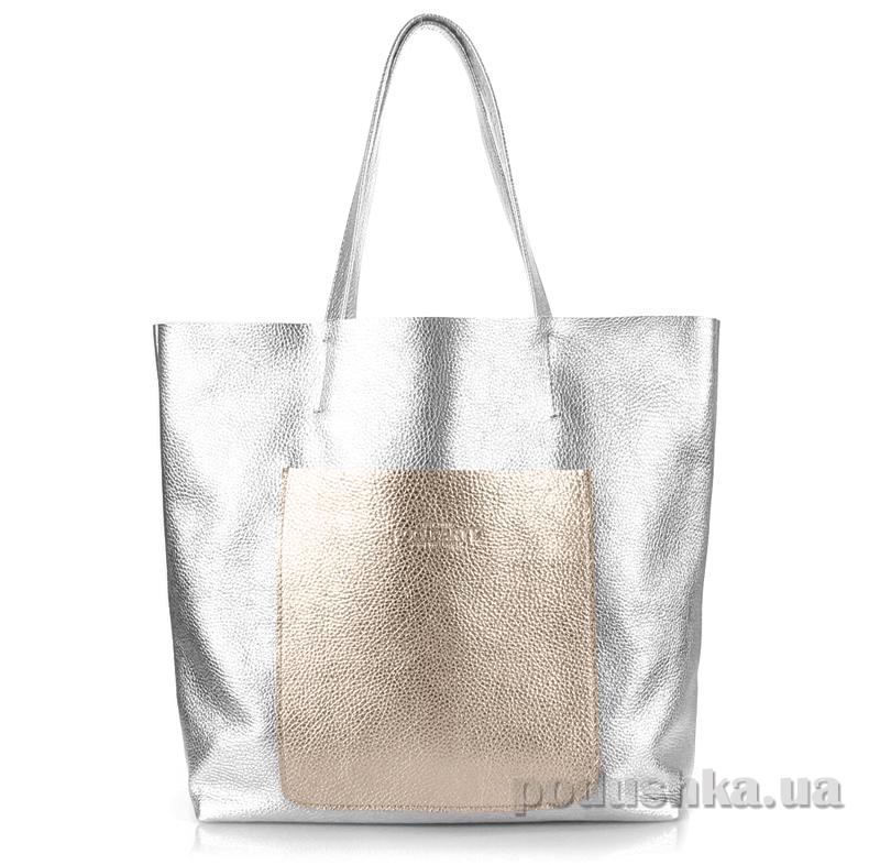 Кожаная сумка Poolparty Mania silver-golden