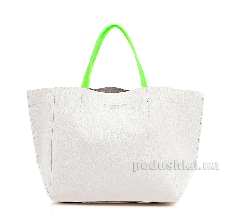 Кожаная сумка Poolparty Soho limited-soho-white-green