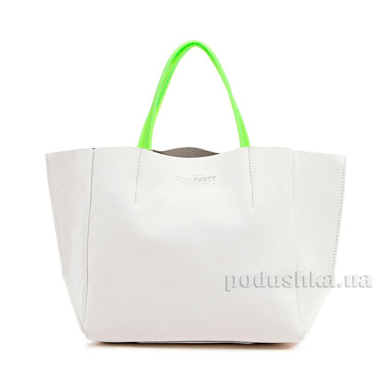Кожаная сумка Poolparty Soho limited-soho-white-green
