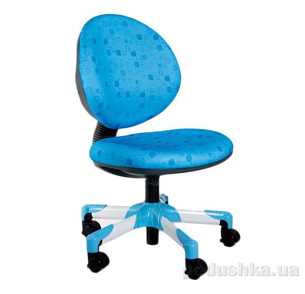 Кресло с белым металлическим основанием Y-120 BS обивка голубая в квадратики Mealux