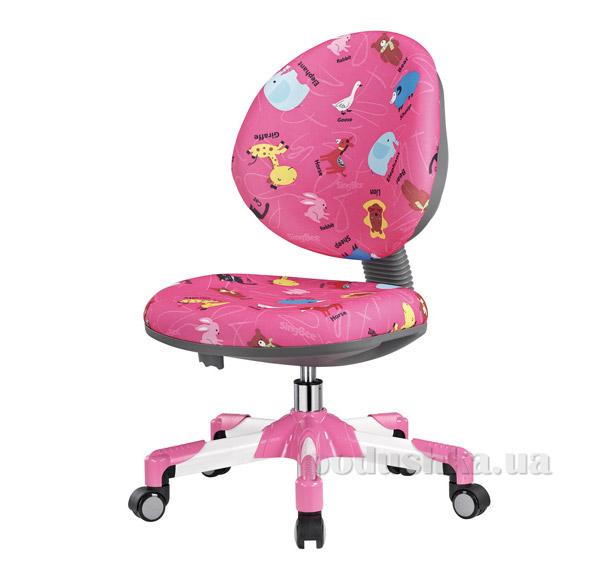 Кресло с белым металлическим основанием Y-120 PN обивка розовая со зверятами Mealux