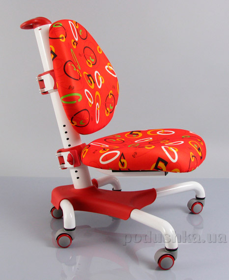 Кресло с белым металлическим основанием Y-517 WR обивка красная с кольцами Mealux