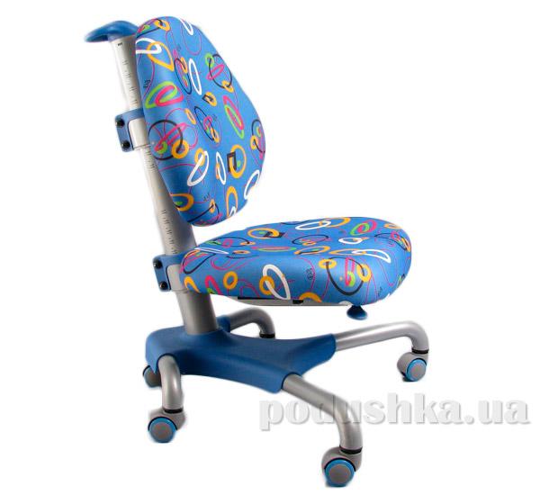Кресло с серым металлическим основанием Y-517 SB обивка синяя с кольцами Mealux