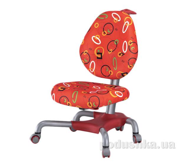 Кресло с серым металлическим основанием Y-517 SR обивка красная с кольцами Mealux