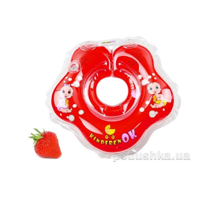 Круг надувной клубничка с погремушкой KinderenOk 204238-24
