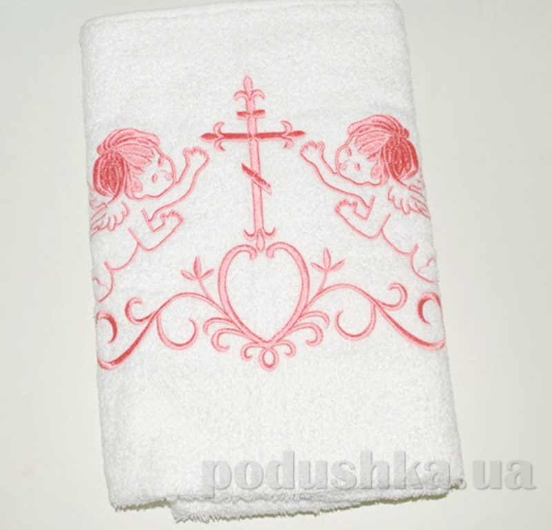 Крыжма для малыша Nostra бело-розовая 100х150 см  Nostra