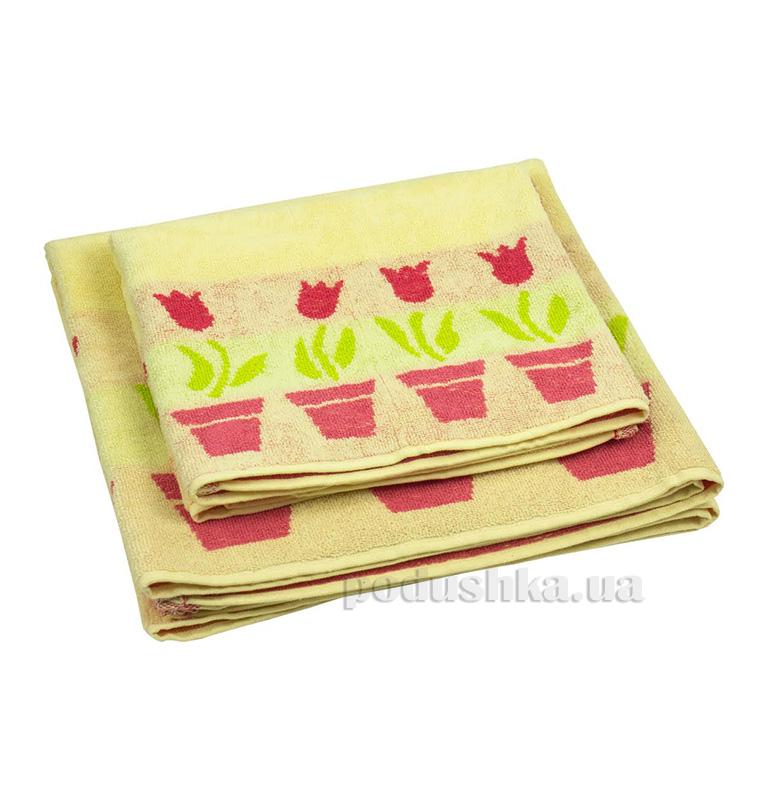 Махровое полотенце Руно желтые тюльпаны