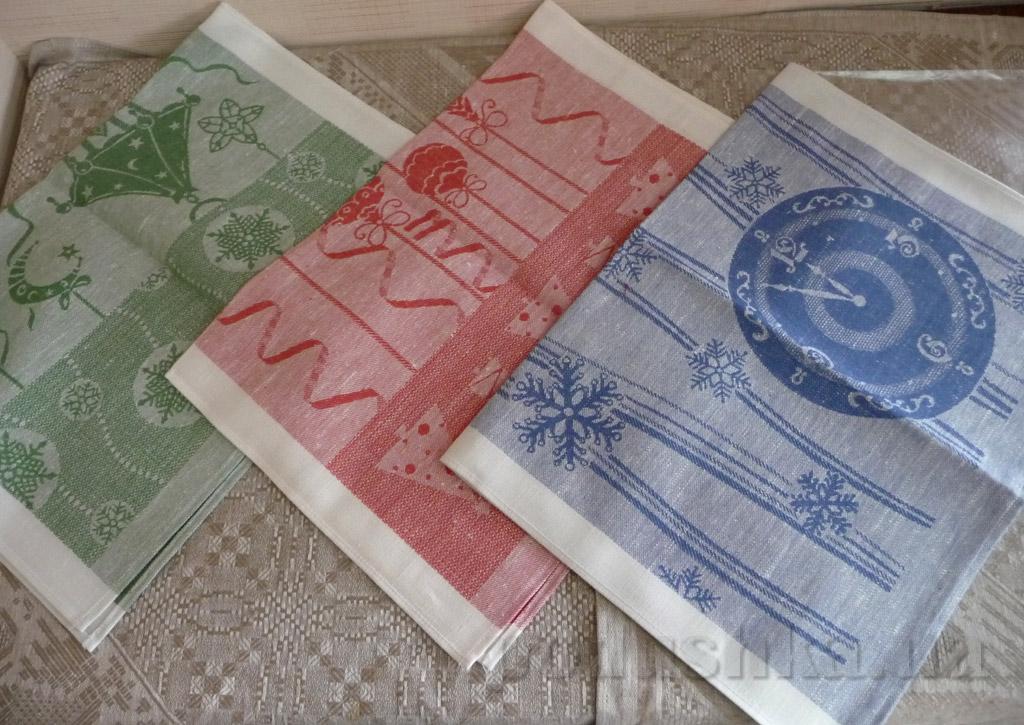 Кухонное полотенце 10с197-ШР Снежинки синее