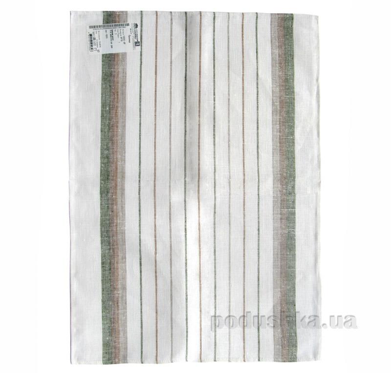 Кухонное полотенце Белорусский лен в полоску хаки 12с252-ШР