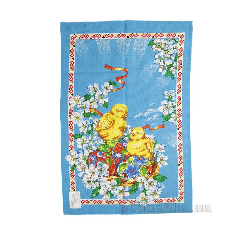 Кухонное полотенце Home line Пасха 105569 голубое с желтым