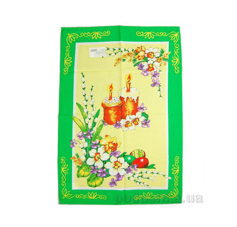 Кухонное полотенце Home line Пасха 105569 зеленое с желтым 45х70 см  Home line